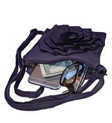 AFONiE Fashion Flower Design Women's Genuine Leather Crossbody Bag [Purple]