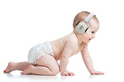 BEBE Noise Reduction Ear Muff Hearing Protection, Silver, 3 Months+