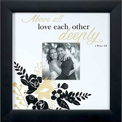 """Wedding Wall Photo Frame 10"""" x 10"""" for 4"""" Photo - Above All Love Each Other Deeply 1 Peter 4:8"""