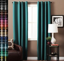 """Turquoize Pair(2 Panels) Solid Blackout Drapes, Horizon Blue, Themal Insulated, Grommet/Eyelet Top, Nursery & Infant Care Curtains Each Panel 52"""" W x 84"""" L inch"""