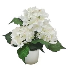 """Battery Operated LED Lighted Hydrangea Arrangement 12"""" - White"""