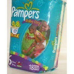 Pampers Baby Dry Diapers, Size 6, 18 Count