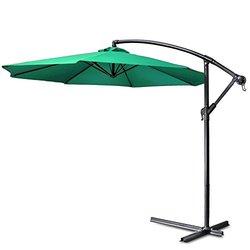 Flexzion Patio Offset Umbrella 10' feet - Green (HAG_UMBL_10FT_GRN)