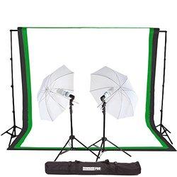 StudioPRO 450 Watt Photography Light Photo & Video Studio Umbrella Continuous Lighting Kit, 6FT. x 9FT. Black, White & Green Chroma key Photo Backdrops Includes Background Support Kit