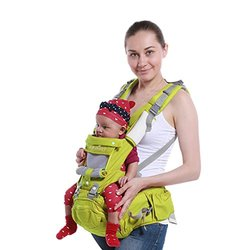 Baby Carrier Backpack Multifunction with Pure Cotton Waist Stool and Hood Baby Holder for 3-36 month Baby&Child Best for New Mom, Apple Green
