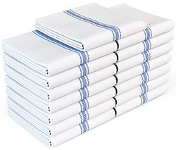 "Royal 14""x25"" Classic Cotton Blue Stripe Kitchen Towels - 15 Pack - White"