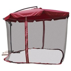 11' Offset Patio Umbrella with Mosquito Net - Jet Setter Red