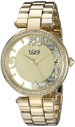 Burgi Women's Round Dial Three Hand Quartz Bracelet Watch: Yellow Gold/gold