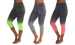 Women's 3-Pack Two Tone Capri Leggings - Green/Gray/Coral - Size: Large