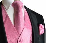 Men's Paisley Vest Neck Tie & Pocket Square Set - Pink - Size: XXL