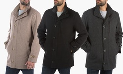 London Fog Wool Blend Car-coat    L10335m    Charcoal    L
