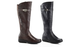 Rasolli Wide Width Comfort Riding Boot Lala-08: Brown -  10