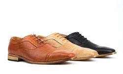Royal Men's Brogue Cap Toe Oxfords: Beige/9