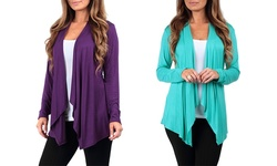 Women's Draped Lightweight Cardigan - Eggplant/Seafoam - Size: Large