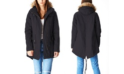 Women's Cotton Parka Jacket with Fur-Lined Hood - Black - Size: Small