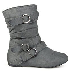 Brinley Kids Toddler Little Girl Buckle Microsuede Boots (3, Grey)