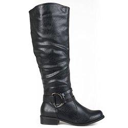 Brinley Co. Women's Regular and Wide-Calf Knee-High Riding Boot Black 10 Wide Calf