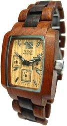Tense Mens 2-Tone Dark Light Sandalwood 3 Dial Wood Watch