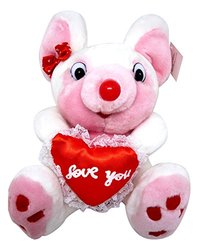 "Stuffed Animal, Plush Adorable Pink 9"" Mouse With ""I Love You"" Heart By Royal Imports"