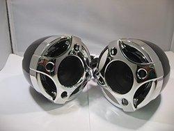 Shark Spks3080akmix 250 Watt Ea 3.5 Inch Motorcycle Marine Speakers Chrome / Black Mix High Quality Atv Motorcycle
