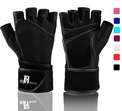 Workout Gloves With Wrist Support - Best Gym Gloves - Premium Weight Lifting Gloves For Gym - Ideal Wrist Wrap Gloves, Crossfit Gloves, Training Gloves, Support Gloves (Black S)