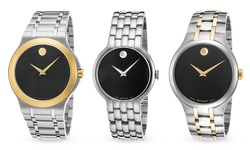 Movado Men's Watch - Black Dial Silver-tone Band