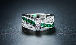 Sevil 18k White Gold Plated & Nano Emerald Crisscross Ring - Size: 10