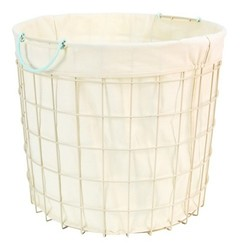 Pillowfort Lined Wire Floor Bin Round with Aqua Handle