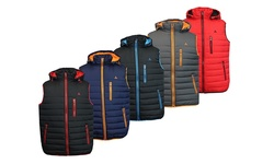 Spire By Galaxy Men's Lightweight Puffer Vest: Charcoal-Orange/Medium