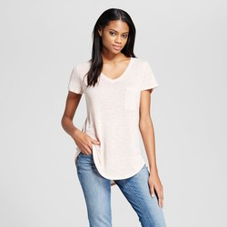 Mossimo Women's V-Neck T-Shirt with Pocket - Light Pink - Size: Small