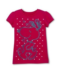 Snoopy Toddler Girls' Short Sleeve Pullover T-Shirt - Pink - Size: 5T