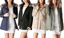 Ladies Cotton Parka Jacket With Fur Lined Hood: Olive - Medium