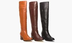 PU wide calf tall boot w/heel LZ6461-11 Black 9.5