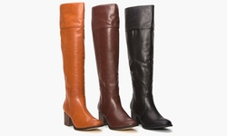 Pu Wide Calf Tall Boot W/heel     Lz6461-11    Dark Rum    8