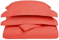 1200TC Cotton Blend Solid Full Queen 3-PC Duvet Cover Set  Coral