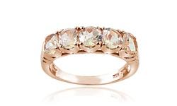 Silver Speck Women's Morganite Half Eternity Band Ring - Rose Gold - Sz: 7