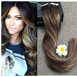 """Full Shine 14"""" 20 Pcs 50 Gram Color #2 Fading to #3/27 Balayage Hair Extensions of Full Head Extensions Glue in Hair Extensions"""