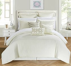 Chic Home 9 Piece Littleton Stitch Embroidered Comforter Set: Queen/beige