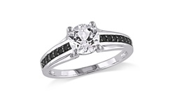 Women's Diamond Sapphire Fashion Ring - Silver/Black - Size: 8