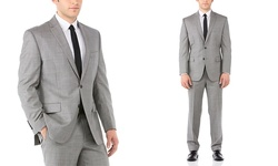 Vince Camuto Men's Modern Fit Suit - Gray Sharkskin - Size: 40R x 34""