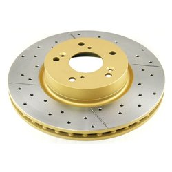 DBA DBA2508X Gold Cross-Drilled & Slotted Front Vented Disc Brake Rotor