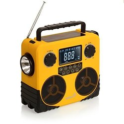 Ivation Water-Resistant Solar- & Dynamo-Powered AM/FM/NOAA Radio, Bluetooth Stereo Speaker & Phone Charger