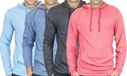 Men's Ls Marled Pullover Hoodie: Denim/XL