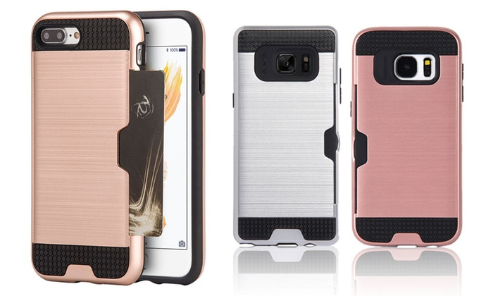 new products ce1ca 1ec33 Walvodesign Card Slot Hybrid TPU Case: Samsung S7 Edge/Gold - Check Back  Soon