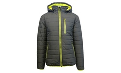 Spire Men's Puffer Jacket with Detachable Hood - Charcoal/Lime - Size: XXL