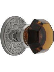 Emtek Rosette Set With Amber Crystal Knobs Passage - Antique Pewter.