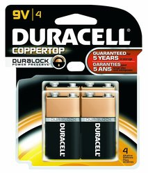 Duracell MN16B4DW 9V CopperTop AM Dioxide Battery - 4 Unit/Card - 12 Card