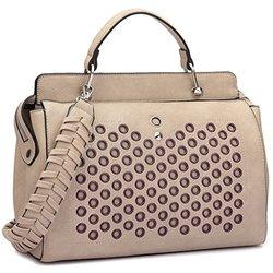 Dasein Helena Pairs Tassel Satchel Handbag: 6993/stone