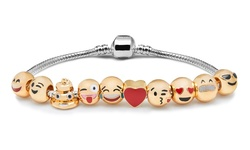 18K Yellow Gold Plated Emoji Bracelet with 10 Charms