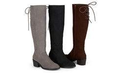 Journee Collection Women's Toe Pinhole Faux Suede Boots - Brown - Size: 7